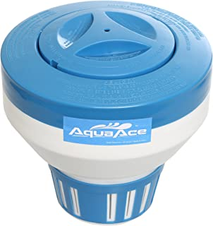 AquaAce Floating Pool Chlorine Dispenser, Premium Floater Classic Design, Chemical Holder for Chlorine Tablets up to 3 inches, Adjustable 15 Flow Vents for Increased Control