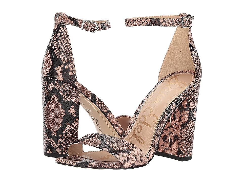 Sam Edelman Yaro Ankle Strap Sandal Heel (Dusty Rose Royal Snake Print Goat Leather) Women