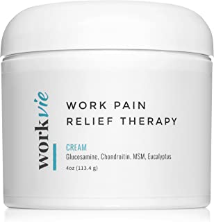 Workvie Pain Relief Cream Therapy [4oz] for Carpal Tunnel, Back Pain, Neck Pain - Reduces Inflammation with Glucosamine, Chondroitin, MSM, Eucalyptus