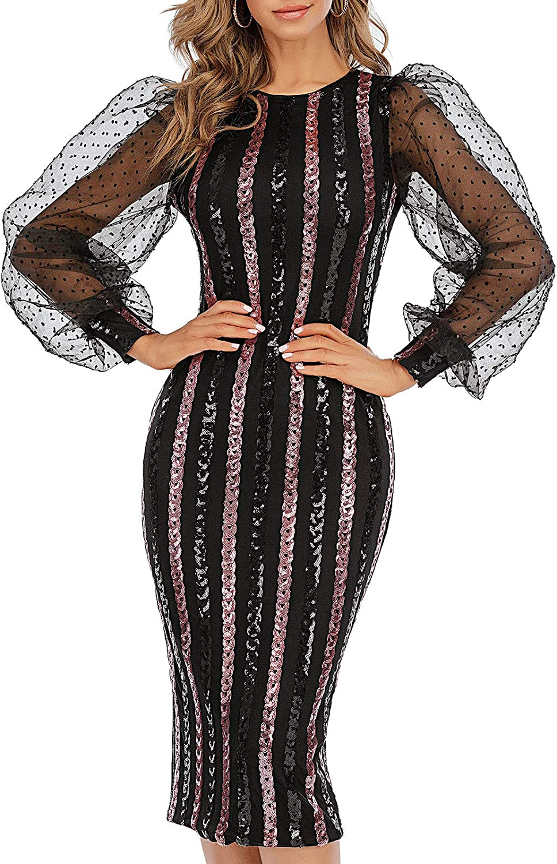 Zshujun 1920s Women's Retro Elegant Mesh Contrast Bishop Sleeve Bodycon Sequined Midi Party Dress A3167