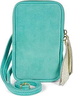 styleBREAKER Damen Leder Handy Umhängetasche aus weichem Veloursleder, Reißverschluss, Echtleder Mini Bag 02012373