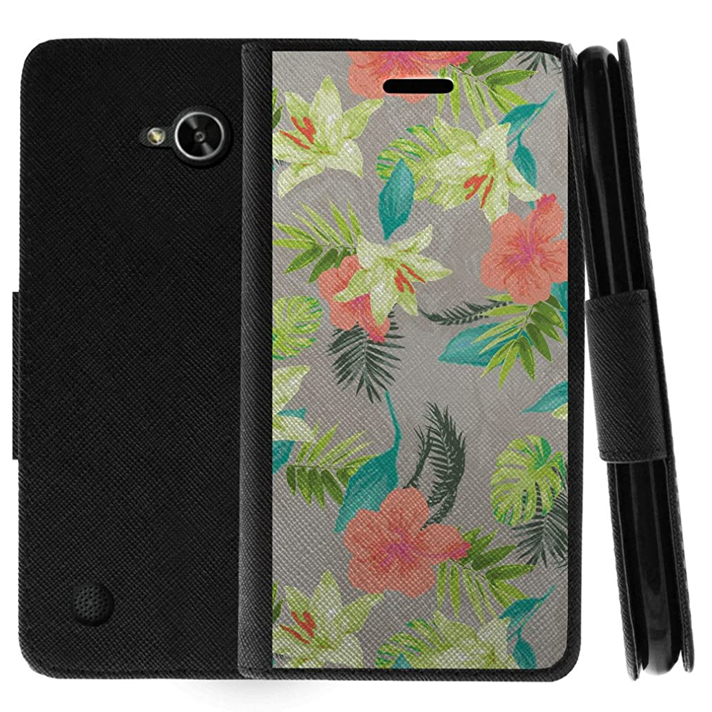 TurtleArmor   Compatible for LG X Power 2 Case   LG Fiesta 2 Case   LG X Charge Case   Flip Kickstand Wallet Case Leather Cover with Card Slots Holder Girl Designs - Hawaiian Flowers