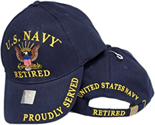 U.S Navy Retired Proudly Served Navy Blue Embroidered Cap Hat