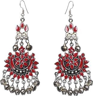 Sansar India Oxidized Afghani Chandbali Earrings for Women