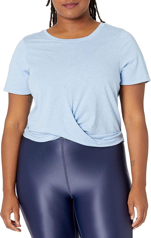 Core 10 Women's Pima Cotton Blend Knot Front Yoga T-Shirt