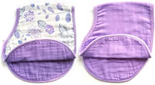 Baby Drool Bibs, 2 Pack Burpy Cloth for Drooling and Teething, 100% Cotton and Super Soft Absorbent Baby Bibs for Boys and Girls, Baby Shower Gift Set (Purple,23.5''x 9'')