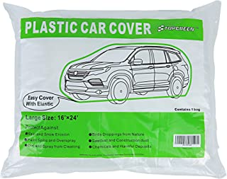 TopGreen Disposable Car Cover Plastic Car Cover with Elastic Band Clear Car Cover Dust Proof All Weather Extra Large Size 24-Feet by 16-Feet