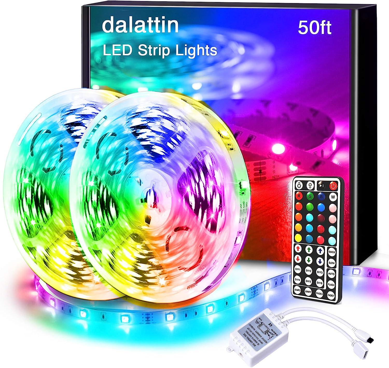 Dalattin Led Lights for Bedroom 50ft,2 Rolls of 25ft RGB 5050 Led Strip Lights Color Changing Kit with 44 Keys Remote Controller and 12V Power Supply Led Light Strips Indoor Decoration