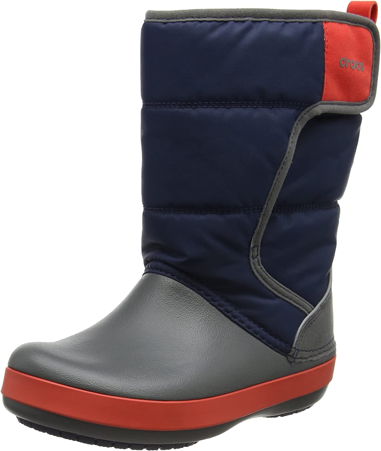 Crocs LodgePoint Snow Boot discount Navy Slate Little 2 Ranking TOP4 Kid US M Grey