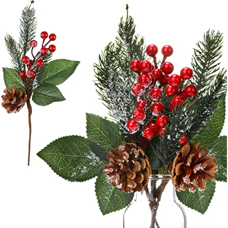 Christmas Artificial Pine Branch Cone Berry Holly Flower Pick XMAS Decor