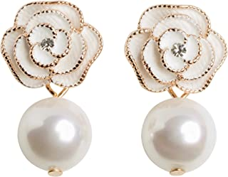 b298e820e MISASHA Designer Imitation Pearl Camellia Charm Dangle Earrings For Women