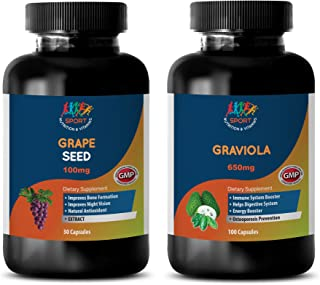 Metabolism Energy Booster - Grape Seed Extract – GRAVIOLA Extract - grapeseed Oil Organic - 2 Bottles Combo (30 Capsules +...