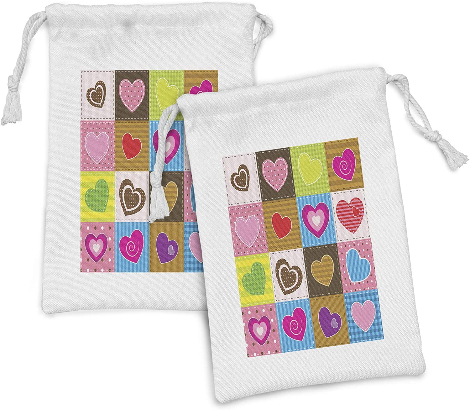 Ambesonne Country Fabric Pouch Set Superior Heart 2 Patchwork of sold out Themed