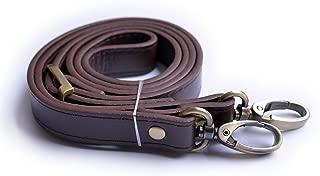 Wento 1pcs 43''-49'' Pu Dark Brown Leather Adjustable Bag Strap,soft Leather Shoulder Straps,replacement Cross Body Purse Straps,handbag Bag Wallet Straps (Glossy Bronze)