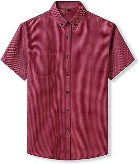 LIANGXIEW Short Sleeve T-Shirt,Plus Large Comfortable Short Sleeve Men Pure Cotton Summer Comforable Plaid Mens Shirts Bus...