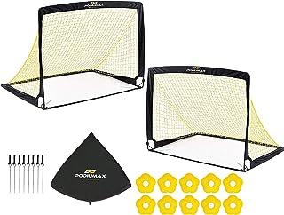 PodiuMax 2-pack set vikbar pop up fotboll med 10 st. hattar, 8 st. golvankare, snabb uppställning, bärbar och stabil