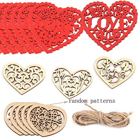 Tatuo 60 Pieces Heart Wooden Embellishments Wood Tags Love Heart Hanging Ornament and 60 Pieces Twines for Valentines Day Decorations Wedding Crafts