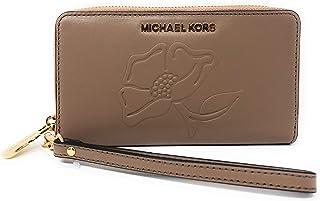 5b90f428794e Michael Kors Nouveau Floral LG Flap Multi Function Leather Phone Case  Wristlet Wallet in DK Khaki
