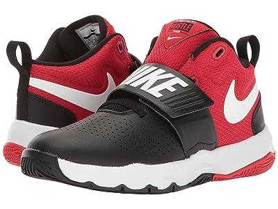 Nike Kids Team Hustle D8 (Little Kid) (Black/White/University Red) Boys Shoes