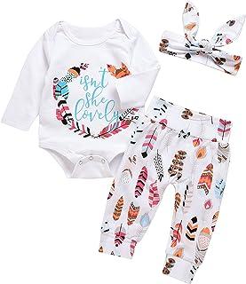 Mekilyn 3Pcs Baby Boy Girls Print Long Sleeve Letters...