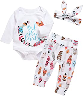 3Pcs Baby Boy Girls Print Long Sleeve Letters Romper+Leaves Pant+Bunny Headband Winter Outfit