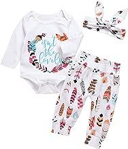 MEKILYN 3Pcs Baby Boy Girls Print Long Sleeve Letters Romper+Leaves Pant+Bunny Headband Winter Outfit