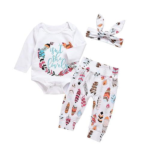 00a48d18e Mekilyn 3Pcs Baby Boy Girls Print Long Sleeve Letters Romper+Leaves  Pant+Bunny Headband