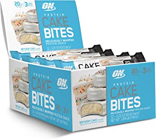 OPTIMUM NUTRITION Protein Cake Bites, Whipped Protein Bars,On the Go, low sugar, Protein Dessert, Flavor: Birthday Cake, 12 Count