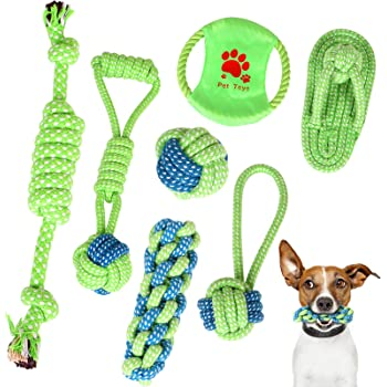 Dog Toys Dog Rope Toy for Pet Aggressive Chewers,7pcs Indestructible Knot Rope Tug ,Teething Chew Toys Interactive Dog Toys for Puppy Medium Large Dogs to Prevent Boredom and Relieves Stress