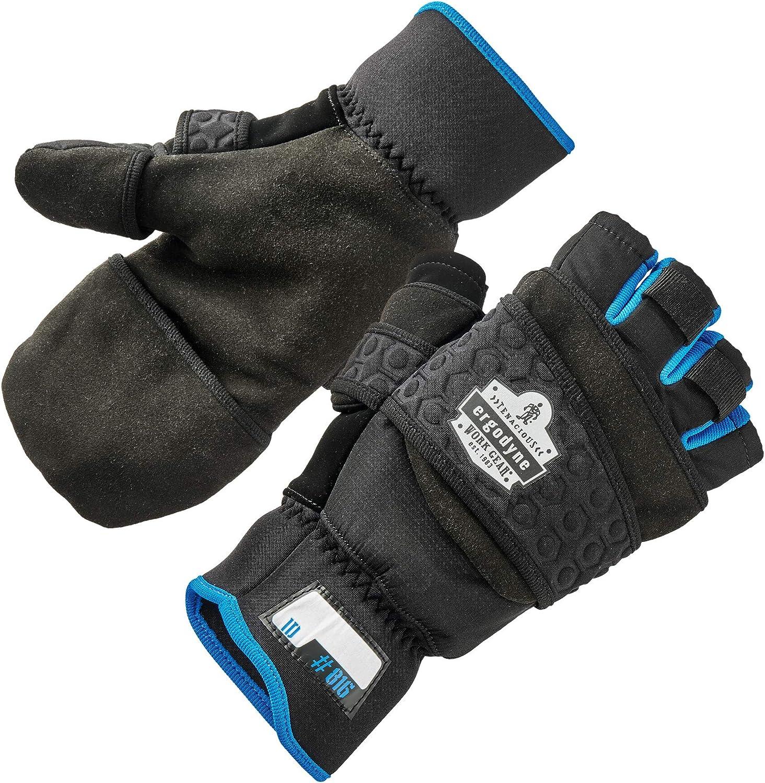 Fingerless Winter Work Glove with Flip Top Mitten, Thermal Fleece Lined, Ergodyne ProFlex 816, Black, Medium