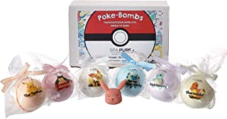 SPA PURE Bath Bombs for Kids: Natural and Organic Fizzies with Surprise Pokémon Toys Inside, 6 Huge Balls, Kid-Safe, Great for Bubble Baths, Perfect Gift for Little Girls and Boys (5 oz. each bomb)