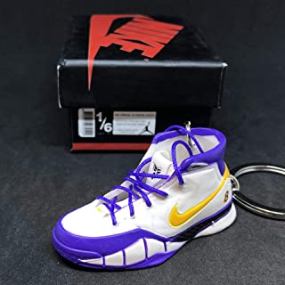 Air Zoom Kobe 1 I Protro Close Out White Purple PE OG Sneakers Shoes 3D Keychain 1:6 Figure + Shoe Box