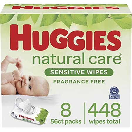 Baby Wipes, Huggies Natural Care Sensitive Baby Diaper Wipes, Unscented, Hypoallergenic, 8 Flip-Top Packs (448 Wipes Total)