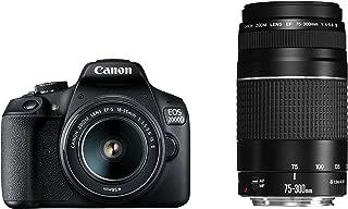 Canon EOS 2000D 18-55mm Is +75-300mm Fotoğraf Makinesi, Full Hd (1080P), Siyah, 2 Yıl Canon Eurasia Garantili
