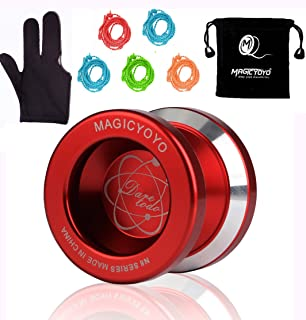 Magic YoYo N8 Unresponsive Yoyo Alloy Aluminum Yo Yo + 5 Strings + Glove+Yoyo Bag Gift (Red)