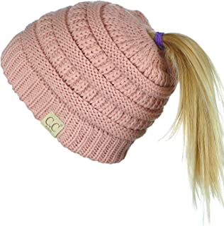 C.C BeanieTail Kids' Children's Soft Cable Knit Messy High Bun Ponytail Beanie Hat