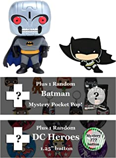 DC Comics Batman Bundle: Funko Pop! Chibi Magnet, Mystery Pop! Keychain, Mystery Button (Robot Batman Chase)