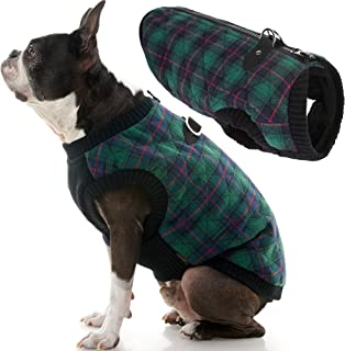 Gooby - Fashion Vest, Small Dog Sweater Bomber Jacket Coat with Stretchable Chest, Green Check, Small