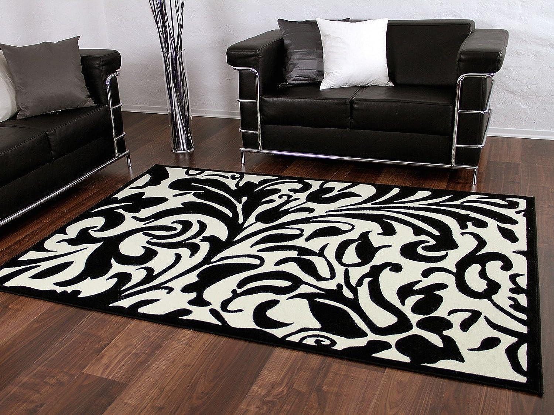 Designer Teppich Passion Schwarz Creme Weiß Barock Wellen in 4 Größen B00JLXO756