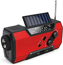 Emergency Solar Crank Radio AM/FM/NOAA Weather Radio with Flashlight,2000mAh Power Bank,SOS Alarm, Reading Lamp,Phone Char...