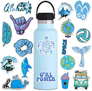 100 Pack Cute Blue Vsco Stickers for Water Bottles Laptops - Aesthetic Lovely Fashion Trendy Waterproof Vinyl Sticker for Hydro Flasks Luggage Mirrors Travel Phone - Scrapbook Decals for Teens Girls