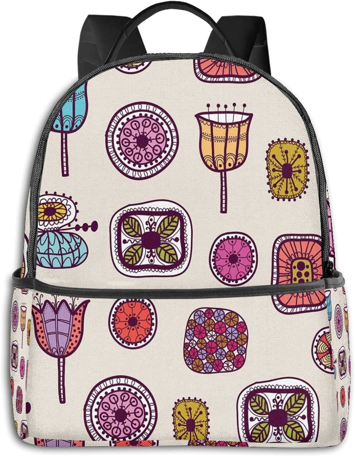 Abstract Shapes With Retro Inspired Colors Flowers Squares Circles Hand Drawn Art Mochilas Escuela Bolsa, Ciclismo
