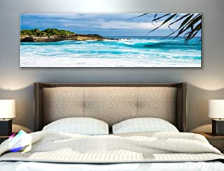 Original by BoxColors Single panel 3 Size Options Art Canvas Print Palm coconut tree Nature beach tropical ocean seascape sea relax sunset Wall Home Office decor (framed 1.5