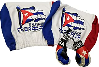 4pcs Cuba Headrest Cover Flag Fit for Cars Vans Trucks-Sold by a Pairs w/ Cuban boxing gloves