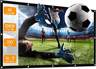 APEMAN 100 inch HD Portable Projector Screen, 16:9 HD 4K Foldable Anti-Crease Thick Projection Screen, 160° Viewing Cone, ...