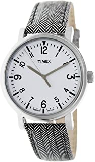 Timex Women's T2P212 Two-Tone Leather Analog Quartz Watch with White Dial