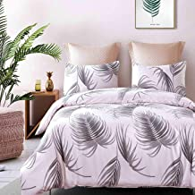 Cozyholy Duvet Cover Set with Tropical Floral Leaves Pattern Soft Breathable Winkle Free Bedding Linens, 3-Pieces (Pink Leaves, King)