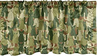 Ambesonne Camo Window Valance, Kitten Silhouette Protective Cat Theme in Jungle Colors Animal Silhouettes, Curtain Valance...
