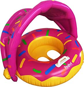 Perfect Pools Inflatable Baby Pool Float - Swimming Ring Baby Donut Toddler Seat with Sunshade for Age 6-36 Months Toddler Children (with Repair Patch)