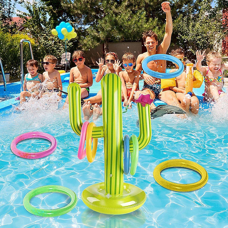 Juego de piscina hinchable con forma de cactus, anillo hinchable toss, juego divertido para fiestas en la piscina, accesorios de agua, juguete divertido para niños y adultos